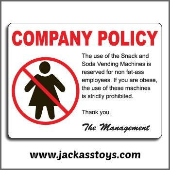 FunnyVending Machine Company Policy Sign Great Office Prank