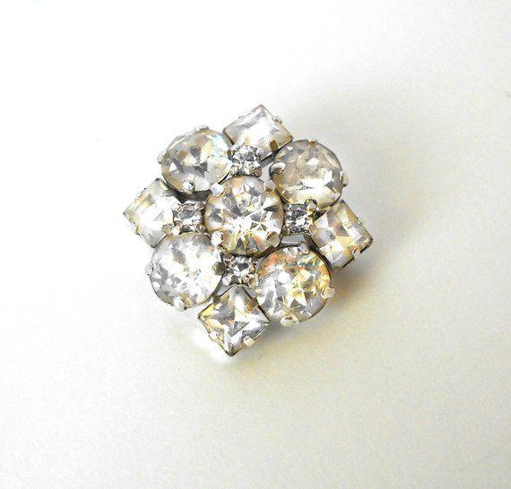 60655428994 Sterling Silver 925 Jay Flex Brooch Pin with Clear Rhinestones ...