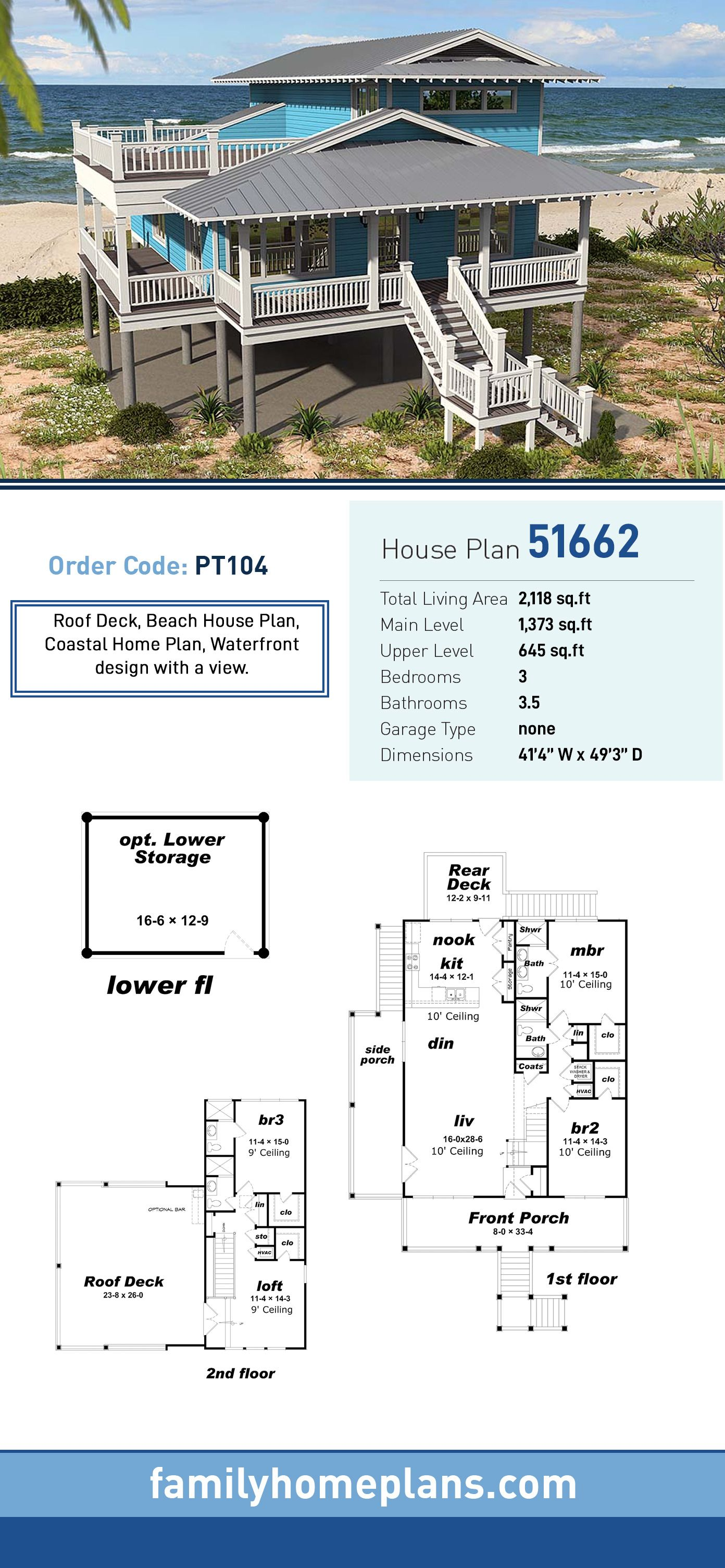 Southern Style House Plan 51662 With 3 Bed 4 Bath Beach House Plan Coastal House Plans Beach House Floor Plans