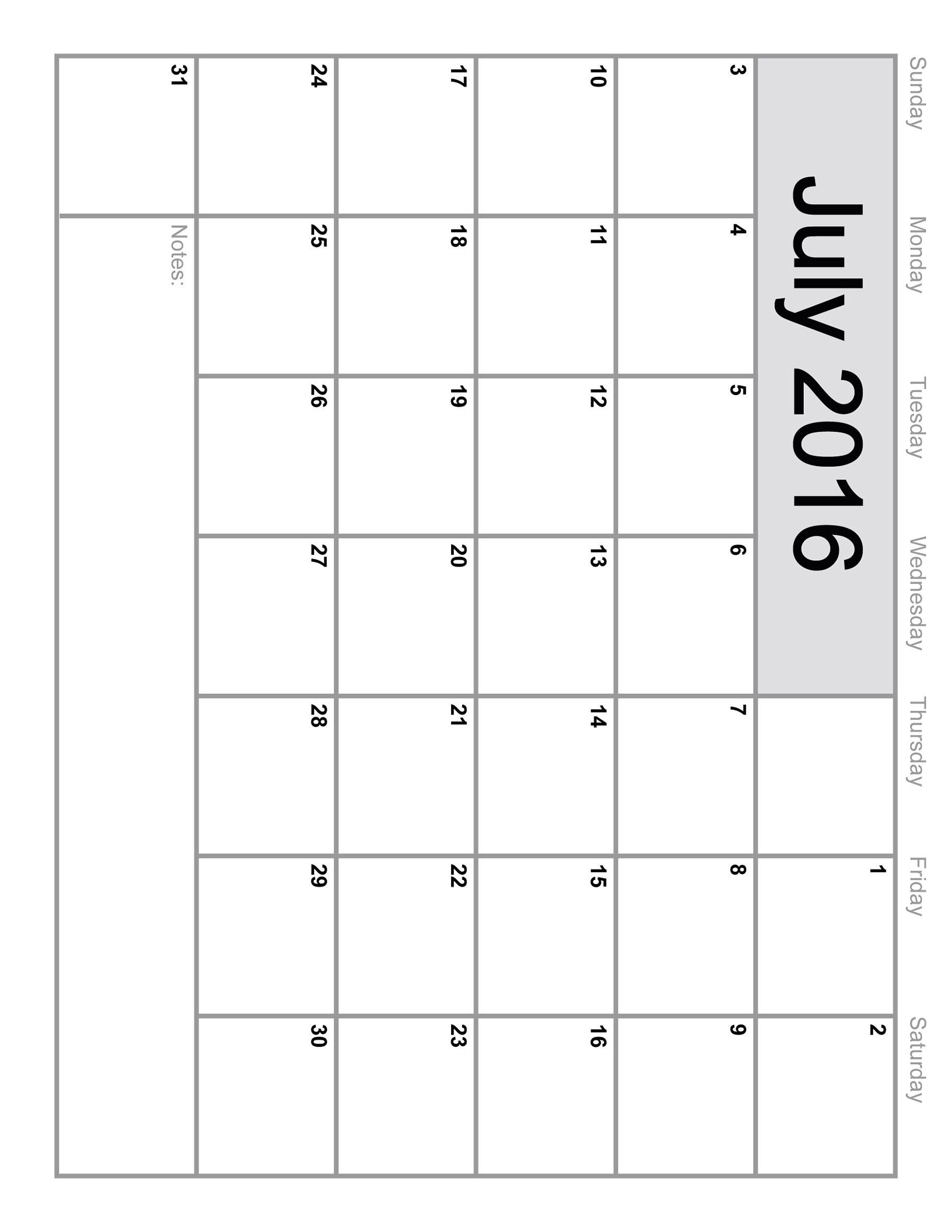 monthly calendar july