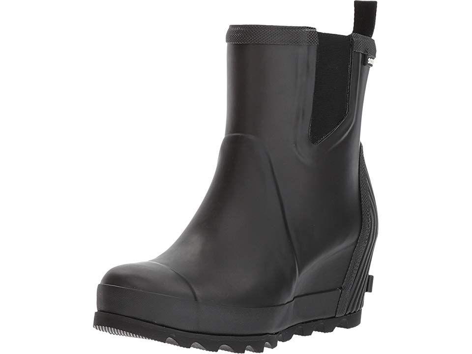 ed28f561f SOREL Joan Rain Wedge Chelsea Women's Waterproof Boots Black/Sea Salt