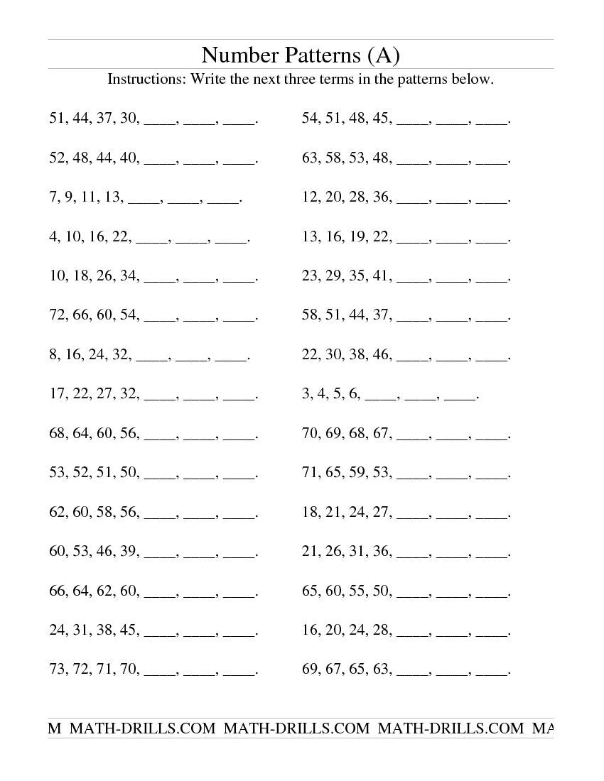 Growing and Shrinking Number Patterns (A) Patterning Worksheet   Number patterns  worksheets [ 1100 x 850 Pixel ]