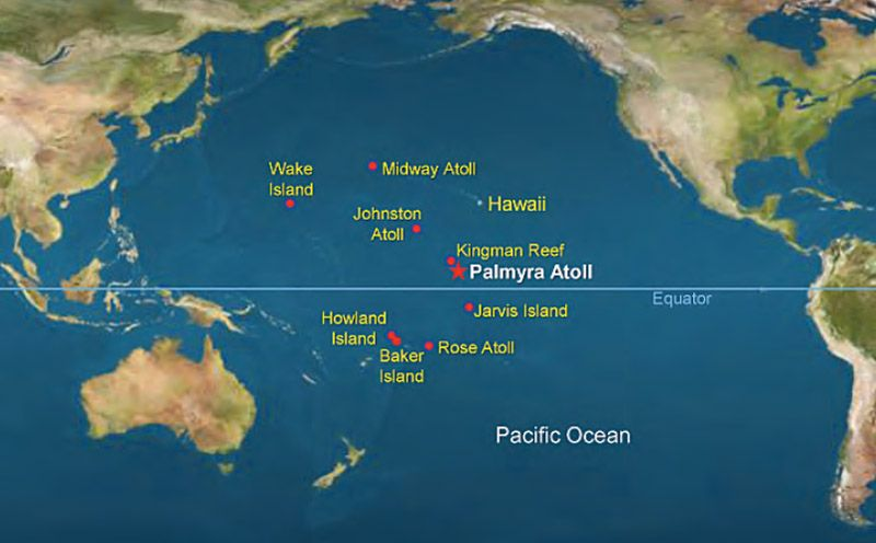 Map Of Pacific Ocean Indicating Palmyra S Location Photographer