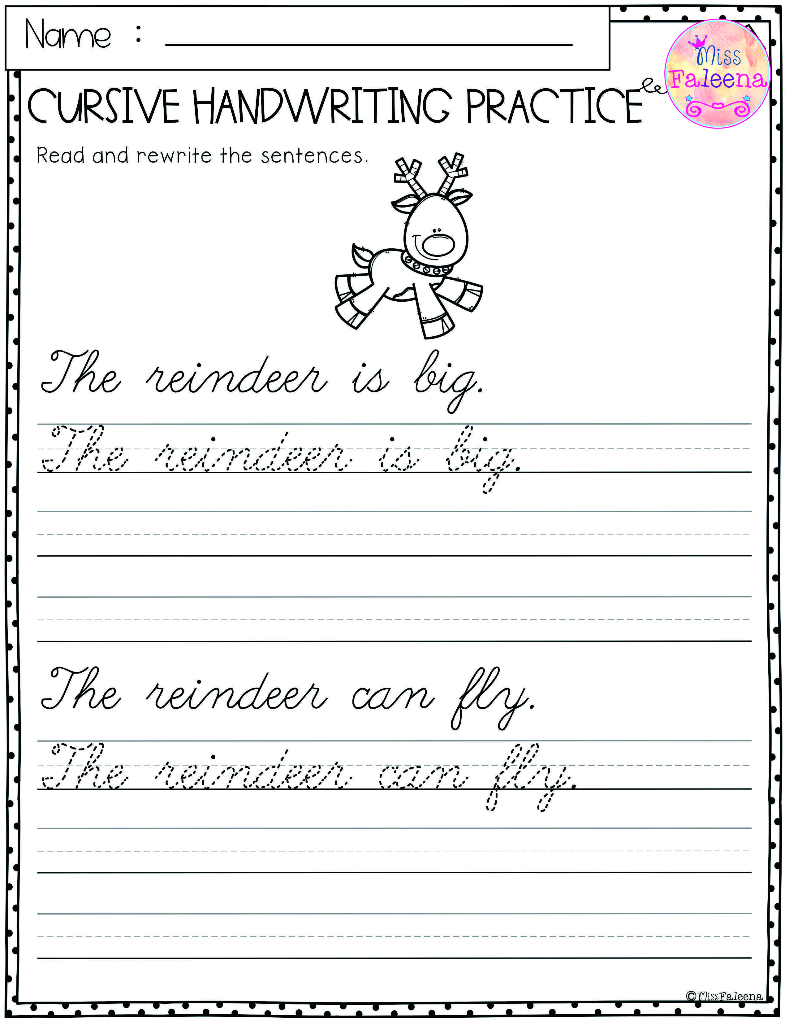 Easy Cursive Handwriting Worksheets [ 3300 x 2550 Pixel ]