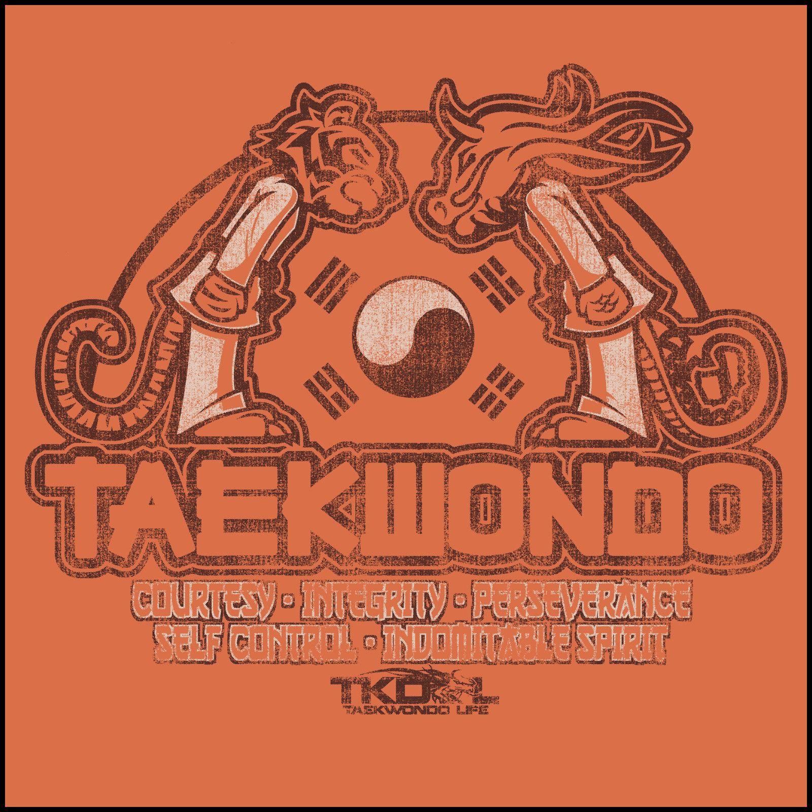 Taekwondo T Shirt Tiger Dragon Bowing Vintage Design Mst 437