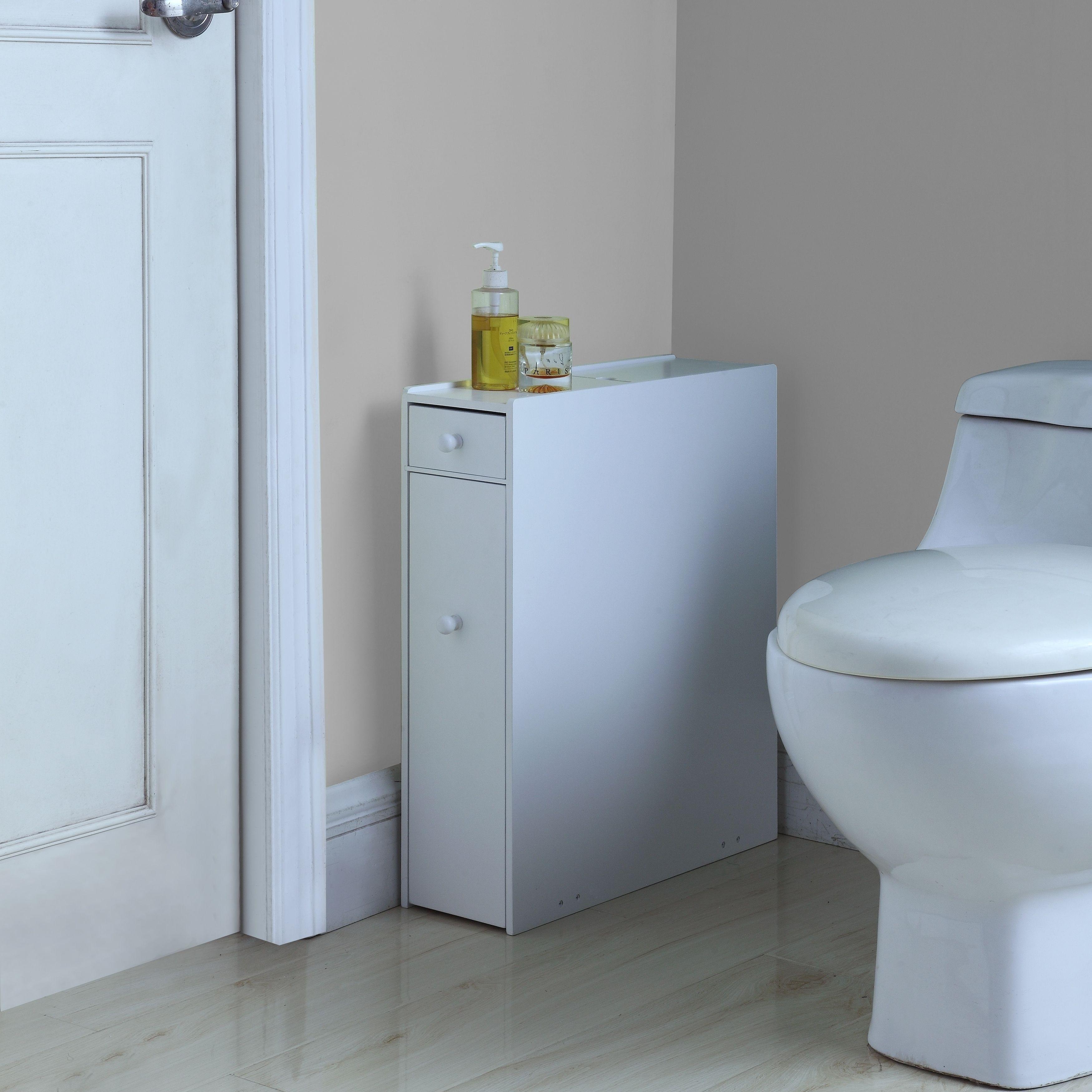 Brighton White Wood Bathroom Floor Cabinet (Bathroom Floor Cabinet ...