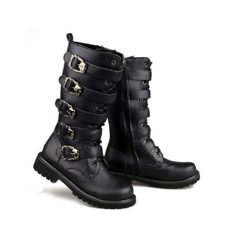 Mens PU Leather Mid-calf Work Boots Outdoor Combat Boot Lace Up Shoes Platform