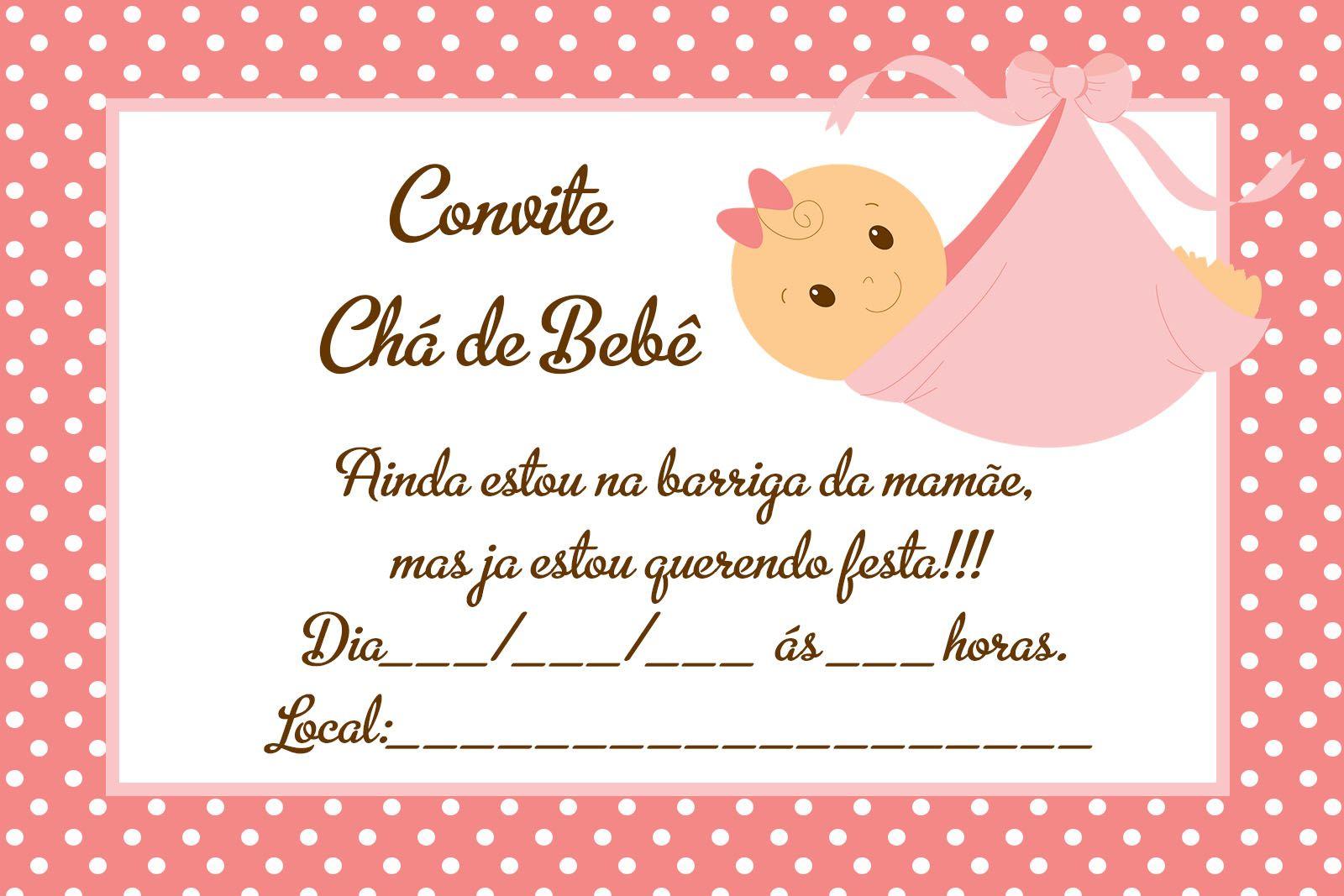 Convite Para Chá De Bebê Grátis Editáveis 2 Alana Convite Cha De