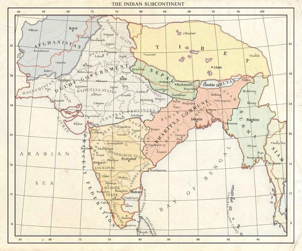 Baroda India Map.Indian Subcontinent 1937 Old Maps Of India Pinterest India Map
