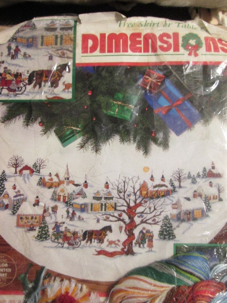 Dimensions Wysocki Christmas Village Counted Cross Stitch 45 Tree Skirt Kit Christmas Village Cross Stitch Counted Cross Stitch