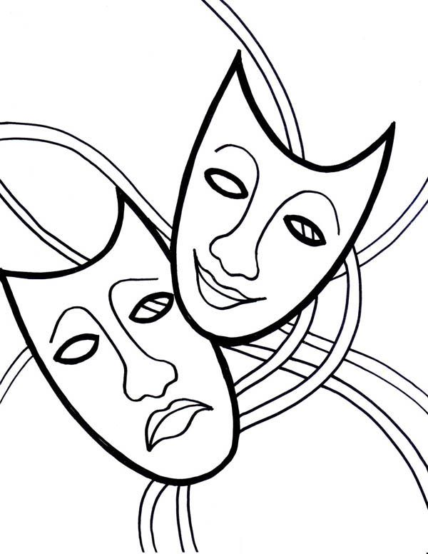 The Comedy Tragedy Mask on Mardi Gras Coloring Page - Download ...