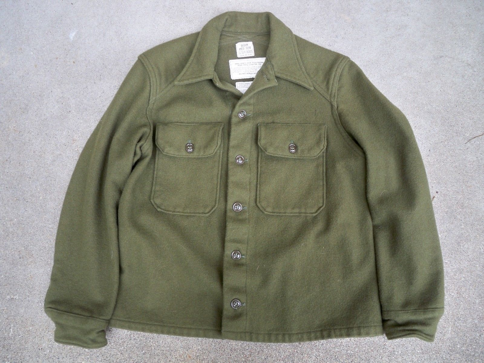 Rare vtg s military army usmc wool green uniform shirt korea war