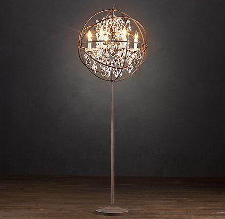 Foucault S Orb Crystal Floor Lamp Crystal Restoration Hardware Crystal Floor Lamp Chandelier Floor Lamp Floor Lamp