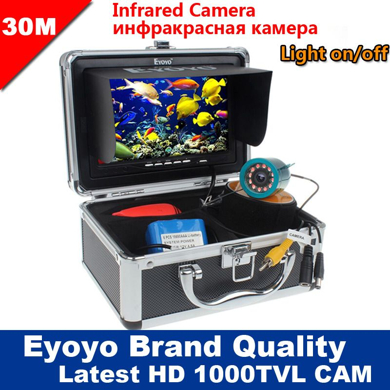 """EYOYO 30M Professional Fish Finder Underwater Ice Fishing Camera 7/"""" Color LCD"""
