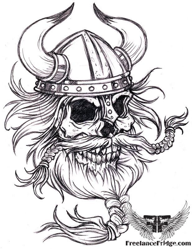 Black and white viking skull tattoo design real photo pictures