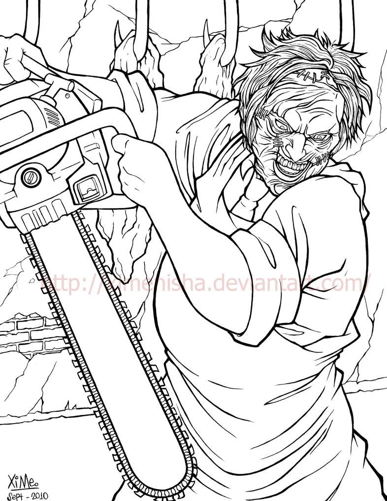Leatherface By Ximenisha On Deviantart Coloring Book Art Scary Coloring Pages Cool Pencil Drawings