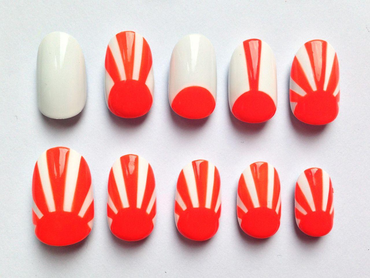 Orange Crush Rising Sun Stick On Nails