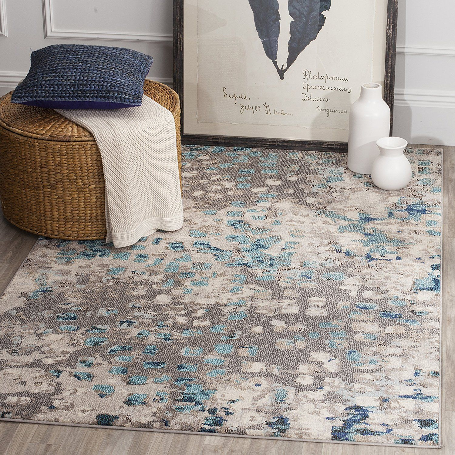 Amazon Com Safavieh Monaco Collection Mnc225e Modern Abstract Watercolor Grey And Light Blue Distressed Area Rug Light Blue Area Rug Safavieh Monaco Cool Rugs
