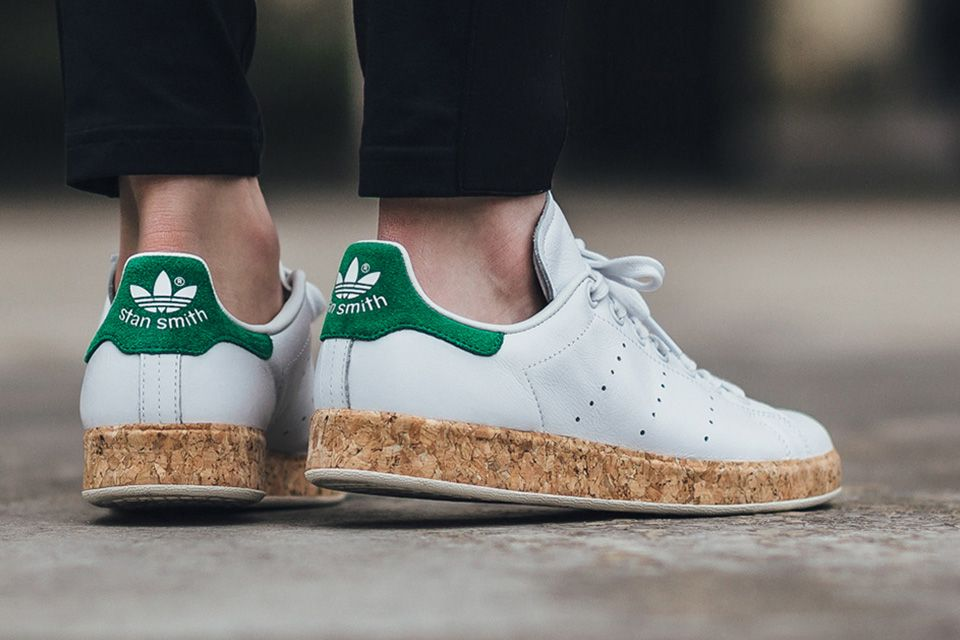 release date: e2242 d69e9 For its SS16 women s rollout, the Three Stripes has decided to shake things  up by adding a cork-wrapped midsole to its ever popular Stan Smith  silhouette.