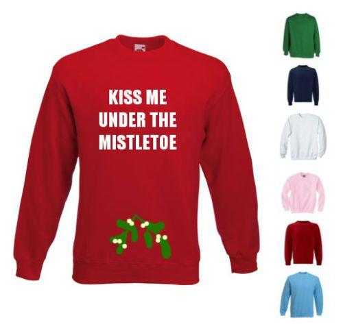 Details About NEW WOMENS MENS KISS ME UNDER THE MISTLETOE