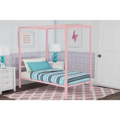 Dhp Rory Metal Canopy Pink Twin Size Bed Frame Pink Finish Modern Canopy Bed Twin Size Bed Frame Canopy Bedroom