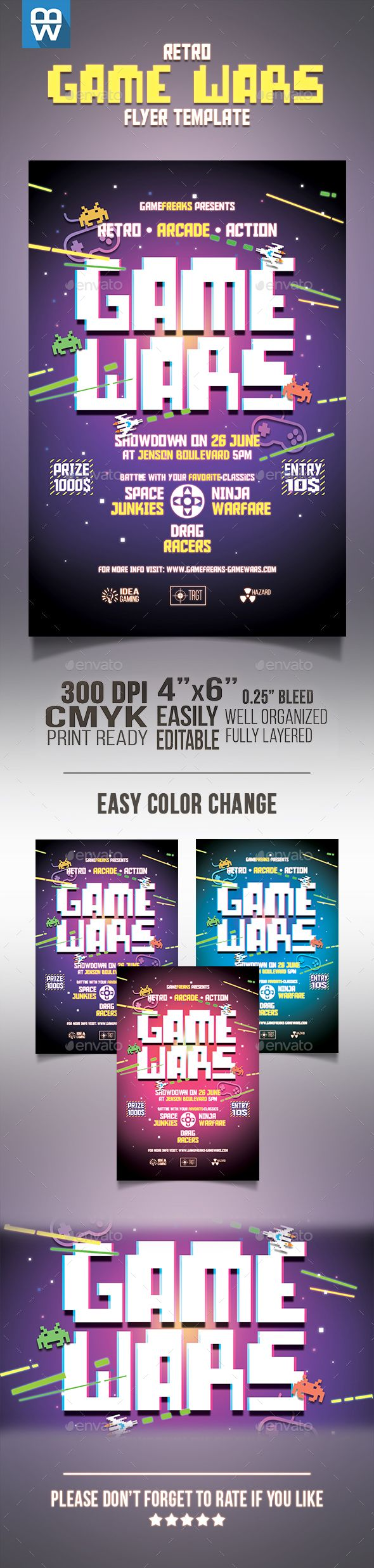Retro Game Wars Flyer  Retro Games Flyer Template And Retro