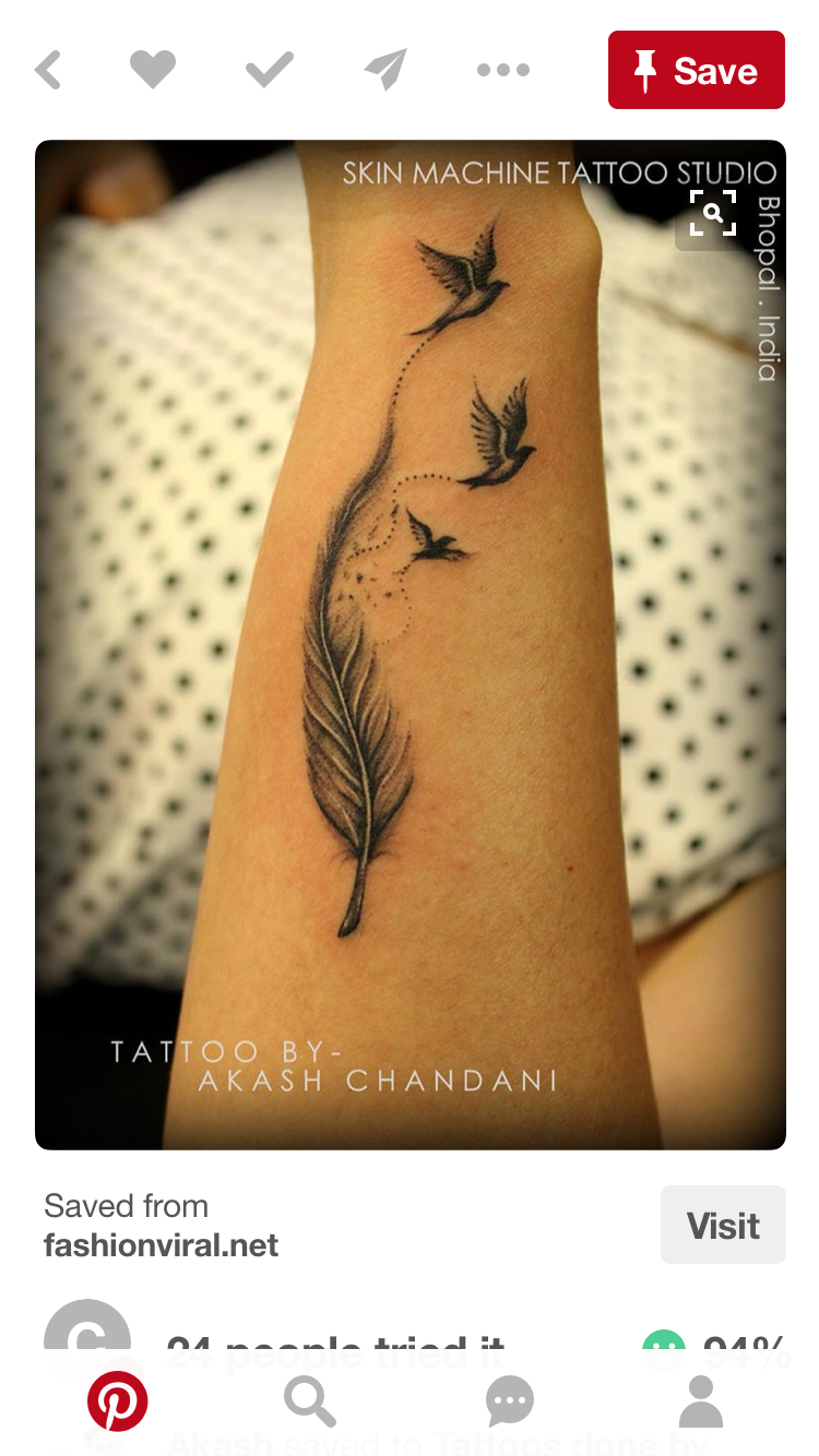 Pin by nikki thiel on tattoo pinterest tattoo tatoos and tatting tatto ideas trends 2017 discover this is one of my fav work feather with birds tattoo by akash chandani india discovred by cathy glenn buycottarizona Gallery