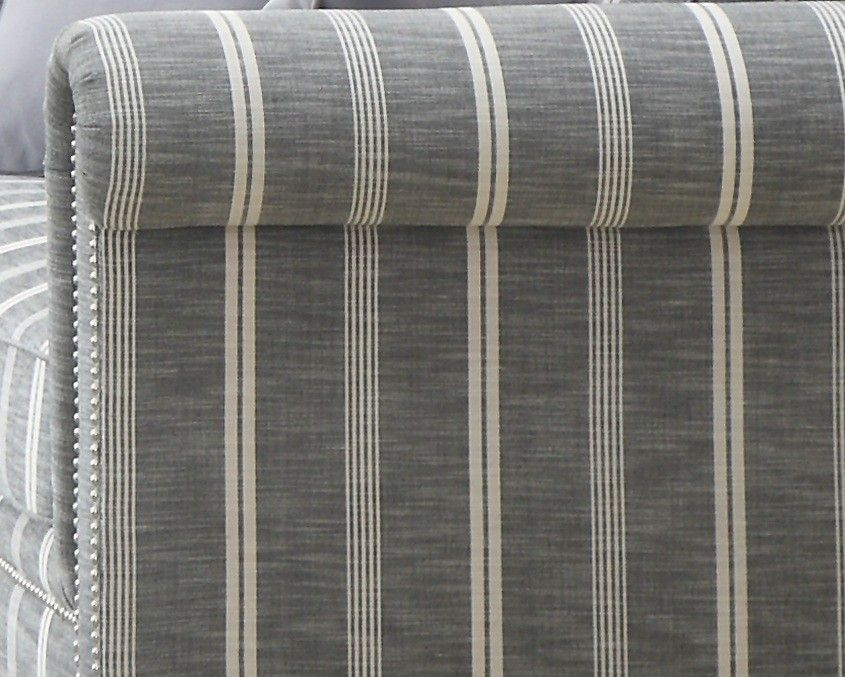 Gray Striped Sofa Grey Fabric With Nailhead Trim The Madeline Collection