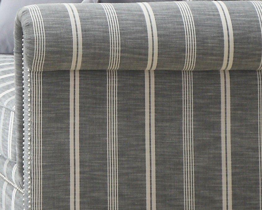 Gray Striped Sofa Grey Striped Fabric Sofa With Nailhead