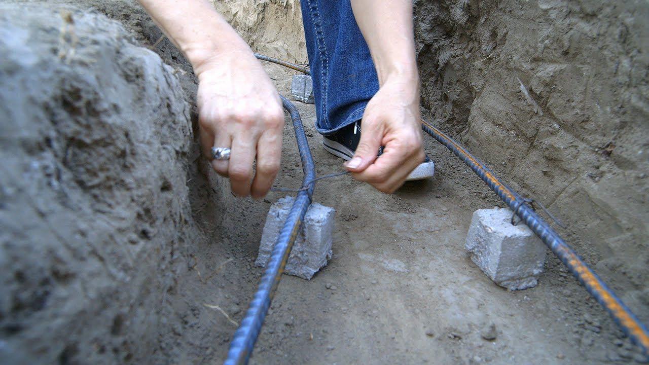 Diy koi pond construction concrete support shelf rebar