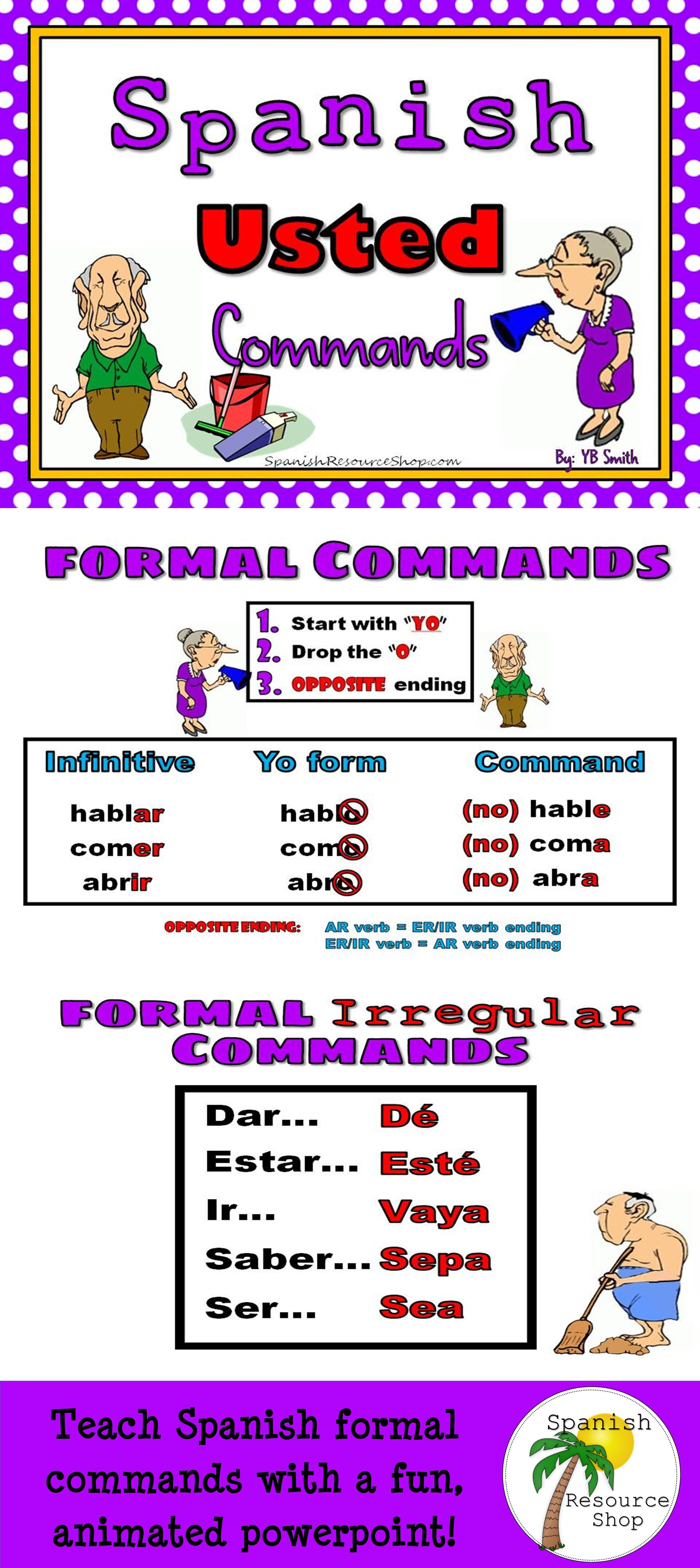 Spanish Commands Formal Grammar Notes And Practice