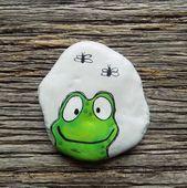 Glücklicher Frosch gemalter Felsen, dekorativer Akzent-Stein, Briefbeschwerer