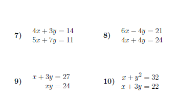 Simultaneous Equations Worksheet With Solutions Simultaneous Equations Solving Quadratic Equations Solving Linear Equations