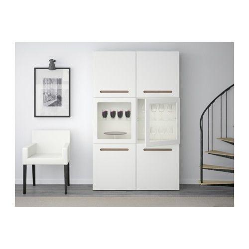 BESTÅ Storage combination w glass doors - Marviken white clear glass