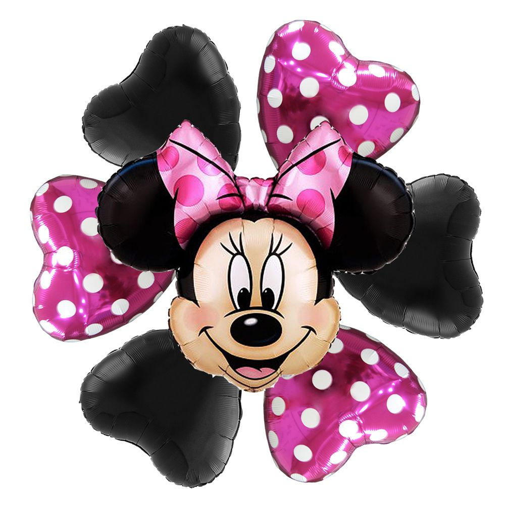 Pink And Black Minnie Mouse Decorations 1st Birthday Party Supplies Minnie Mouse First Foil Balloons Polka