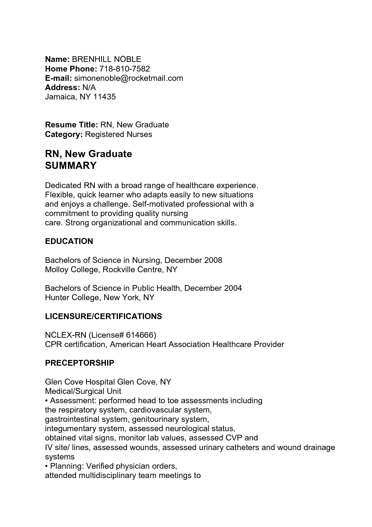 RN New Graduate SUMMARY Nursing resume