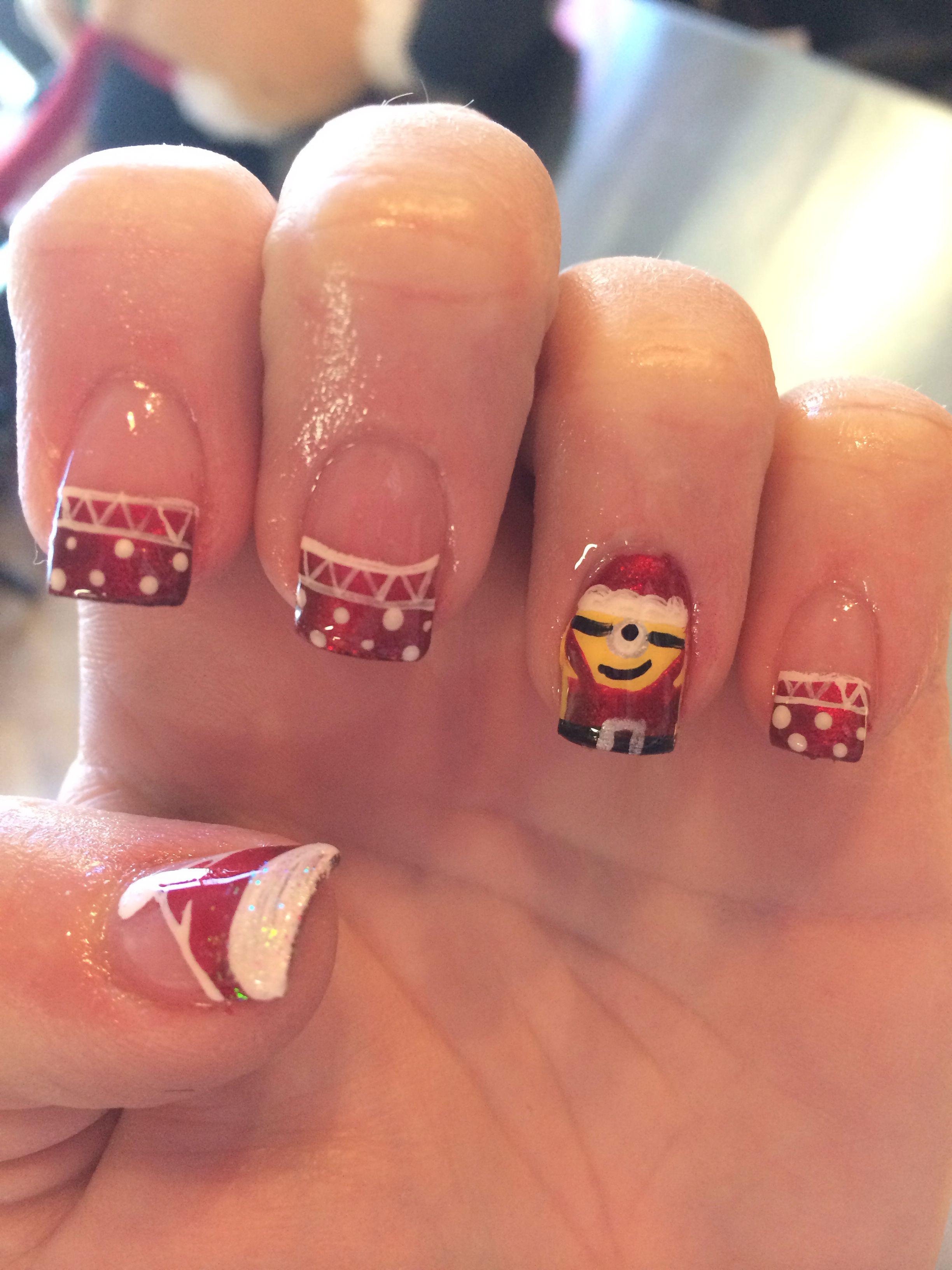 Christmas minion nails | Nails | Pinterest | Minion nails