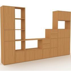 Photo of Storage wall oak – individual designer shelf: drawers in oak & doors in oak – high quality