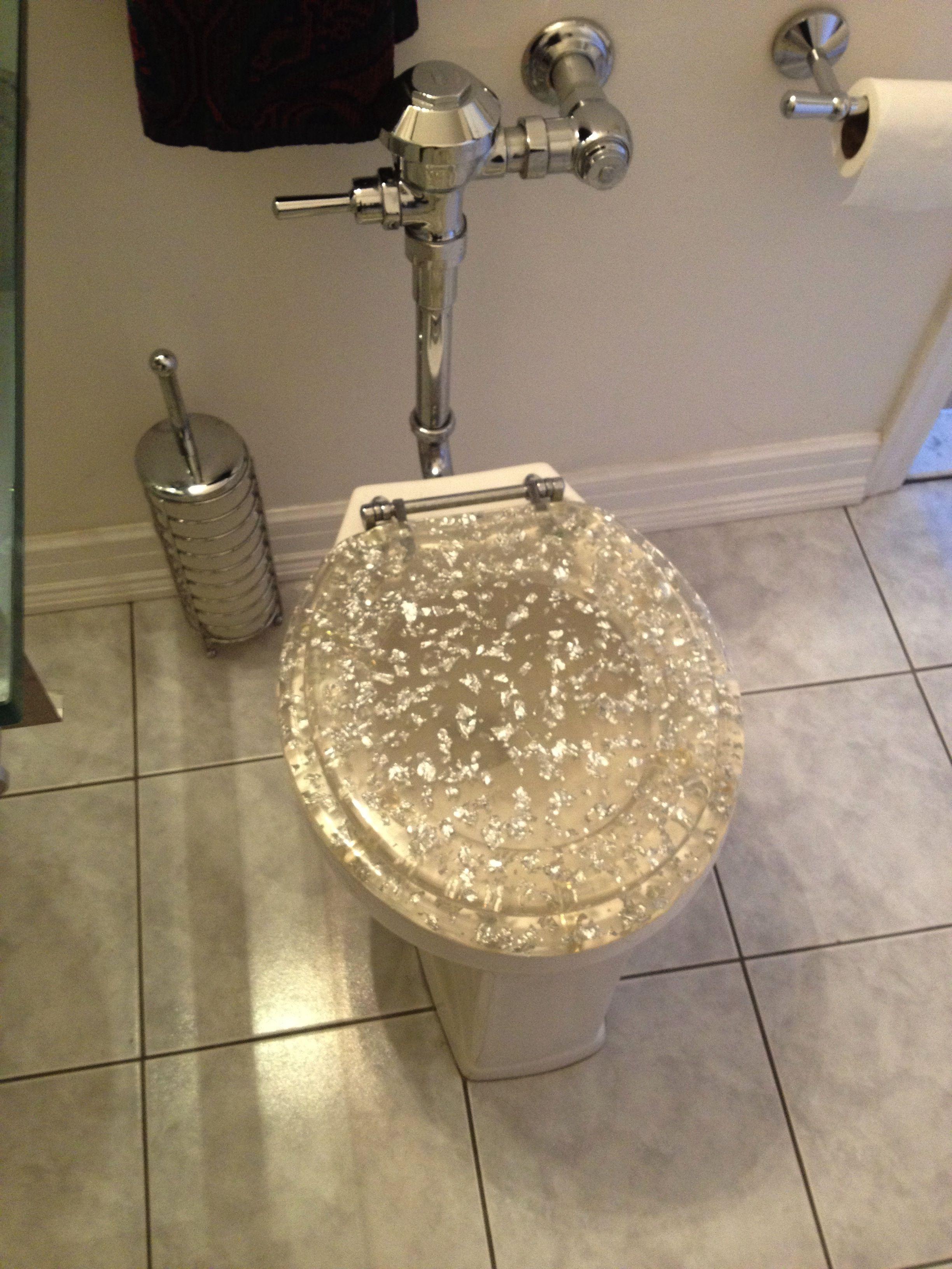 white sparkle toilet seat. Sparkly toilet seat I saw at an open house  Why decor talkingshrimp