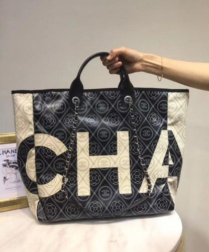 Replica Chanel Printed Canvas Large Shopping Bag A57161 Black  6939 ... 4aac135066676