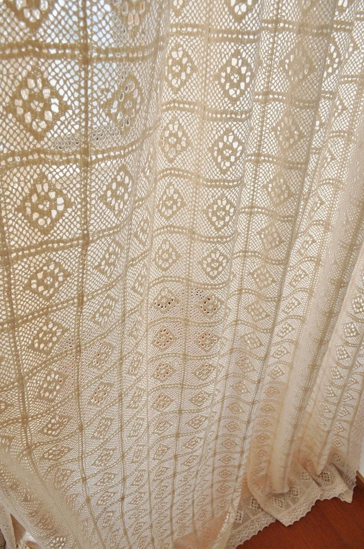 Bodenlange Moderne Häkelgardinen Mit Quadratischem Muster Handmade