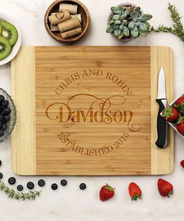 'Established' Personalized Bamboo Cutting Board #zulily #zulilyfinds