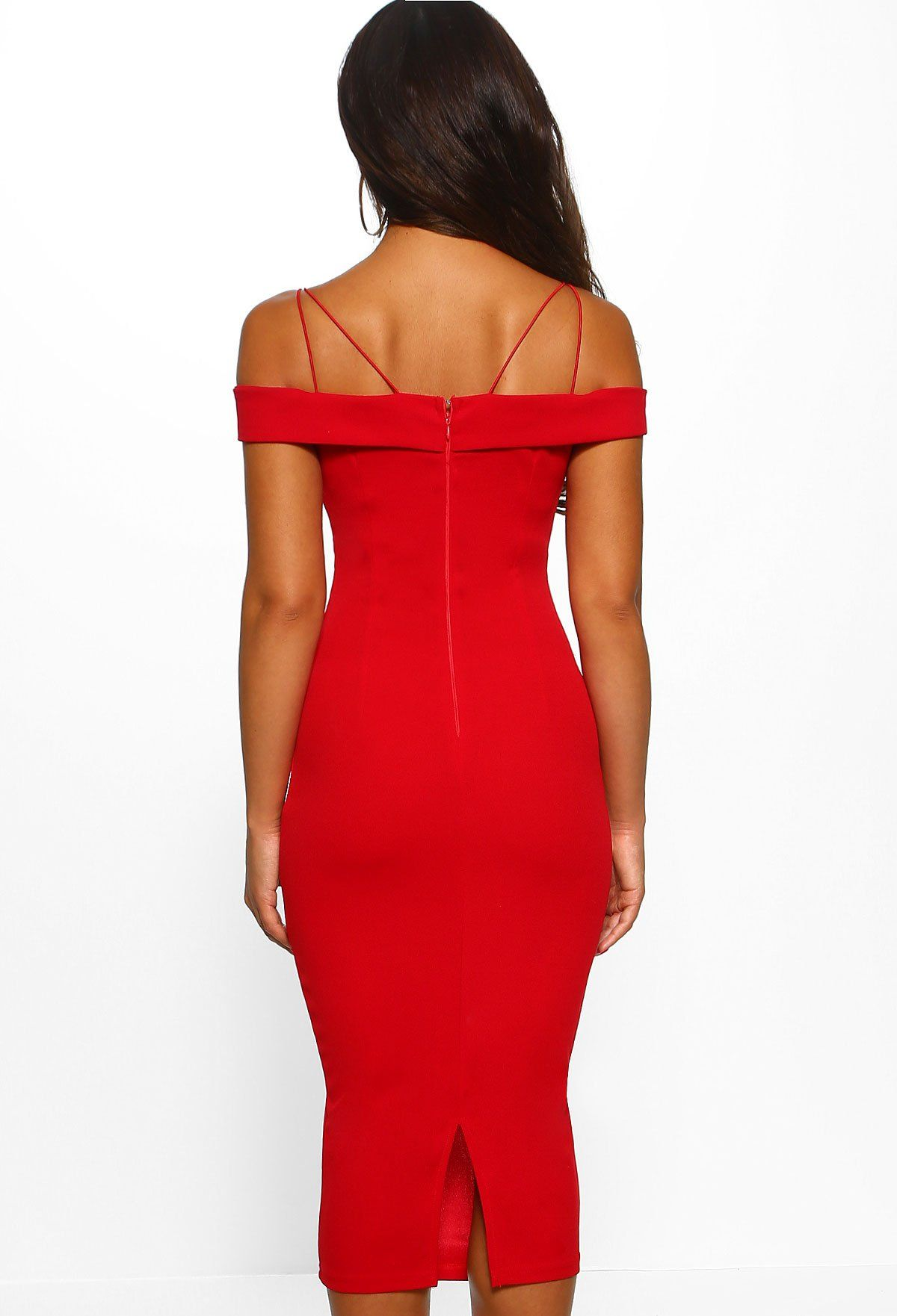 Admired By You Red Crochet Bardot Frill Hem Midi Dress 8 Dresses Crochet Midi Dress Pink Midi Dress