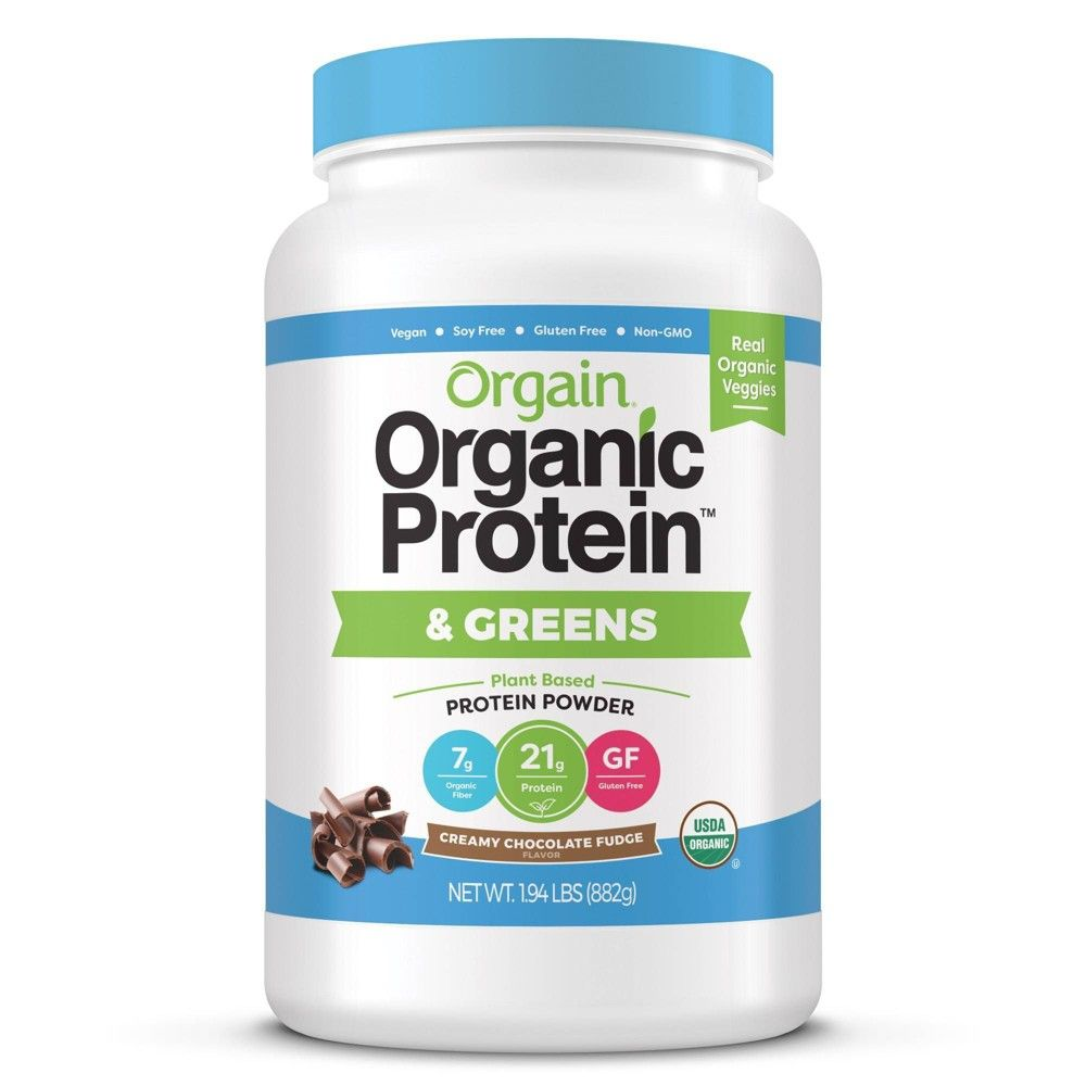 Orgain Organic Vegan Protein Greens Powder Creamy Chocolate Fudge 31oz Plant Based Protein Powder Organic Vegan Protein Powder Organic Protein Powder