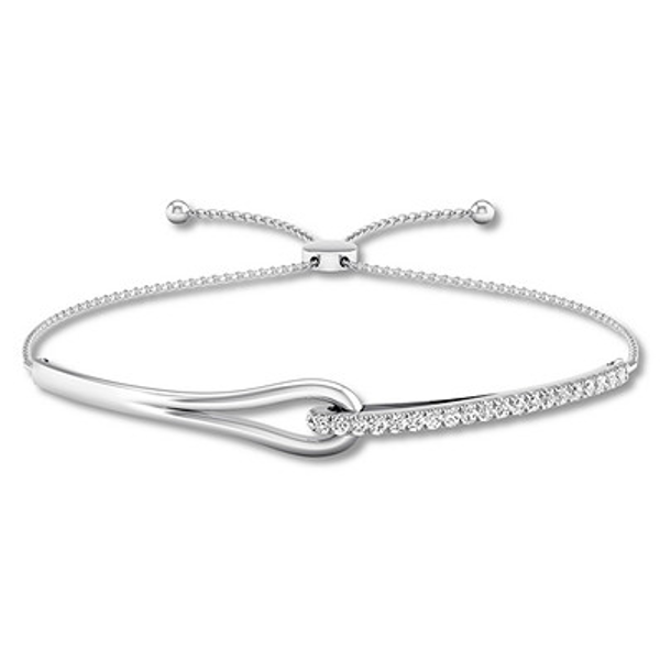 Love Be Loved Diamond Bolo Bracelet 1 2 Ct Tw 10k White Gold Kay White Gold Bracelet Cross Bangle Bracelet White Gold