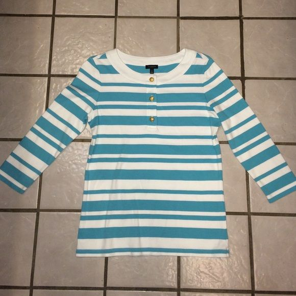 Talbots turquoise/white striped pullover SZ S Like brand new, 3/4 sleeves with 3 gold color buttons in center. Talbots Tops Blouses