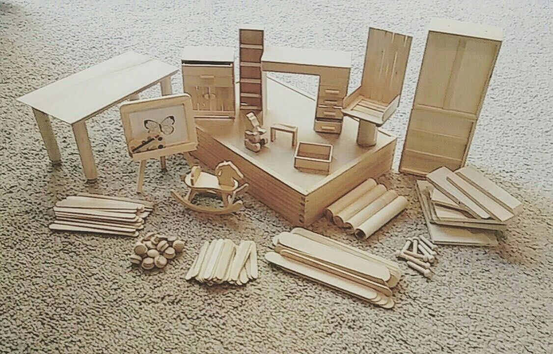 Made Out Wood And Popsicle Sticks! Minature Furnitures For My Girlu0027s Barbie  House.