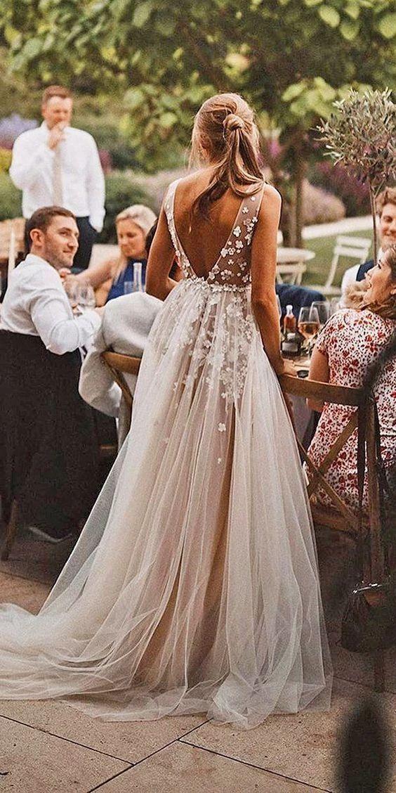 Vestido informal de novia de tul sexy con cuello en v profundo – Nuevas ideas