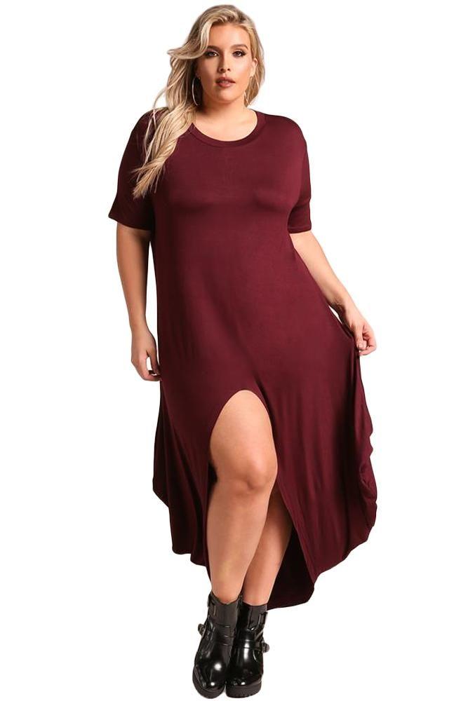 03deeecab2e Sexy Burgundy Plus Size Hi-Lo Slit Jersey Knit Maxi Dress