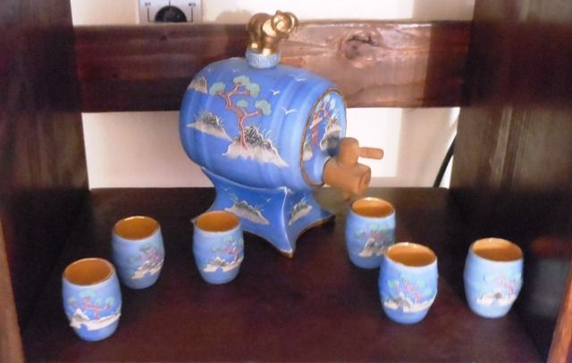 Blue Japanese Moriage Saki Barrel And Cups In Wade S Garage Sale In Dallas Tx For 50 00 This Is A Handpainted In Japan Hand Painted Garage Sales Sale Items